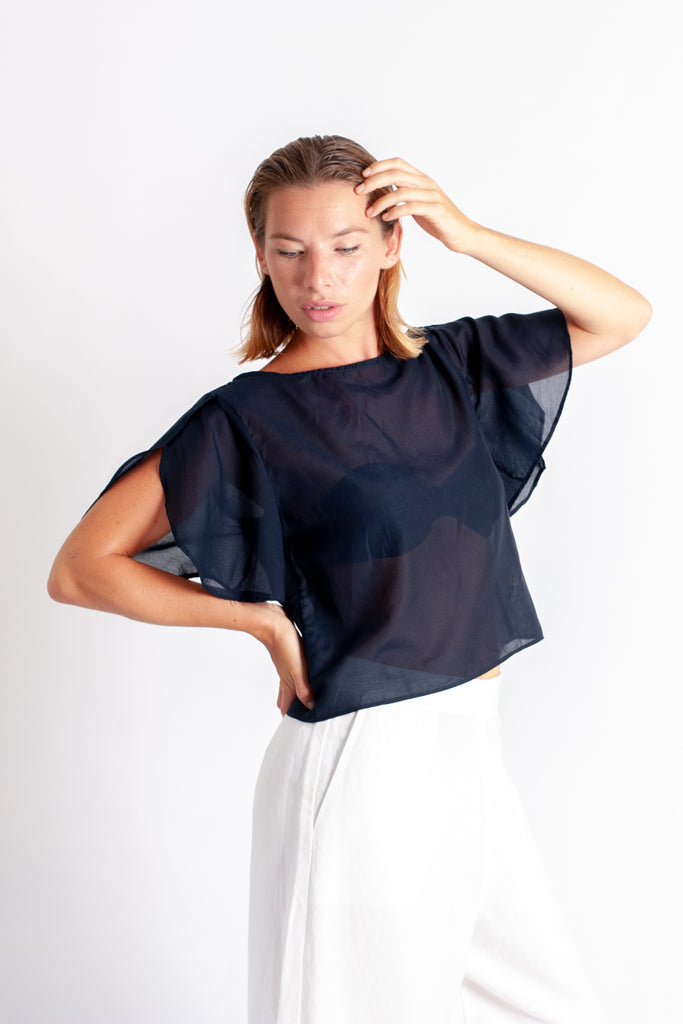 Rissa Top - Navy Silk Cotton Voile
