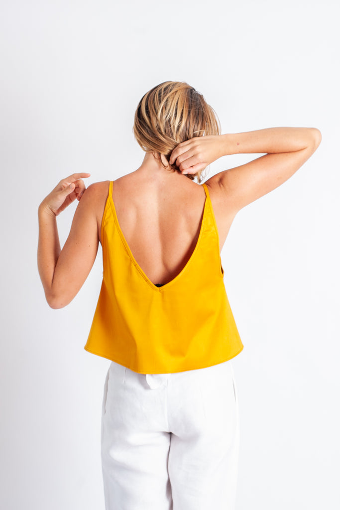Tiqua Crop Cami - Gold Cotton Sateen