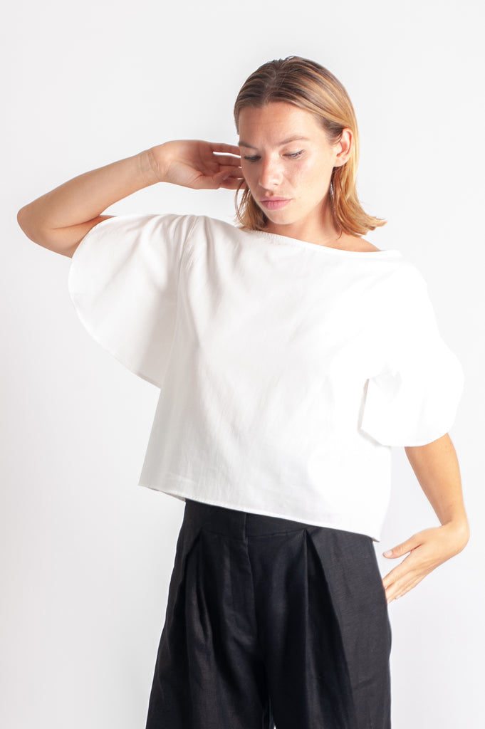 Rissa Top - White Cotton Crepe