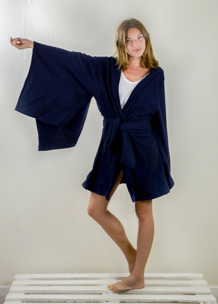 Kumi Coatigan - Navy Japanese Wool