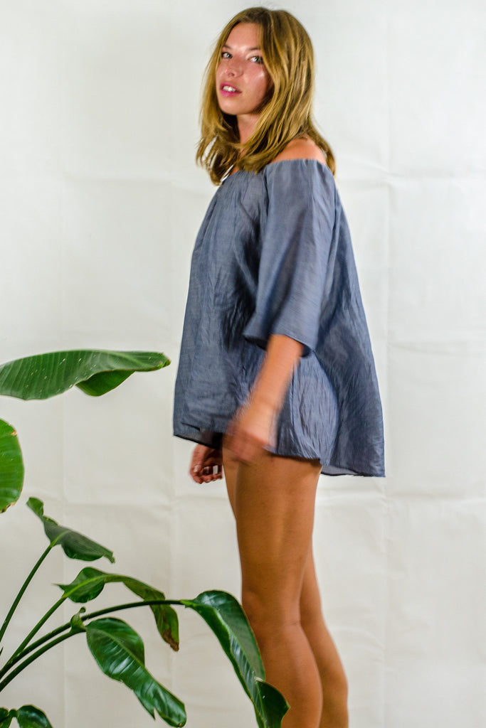 Belle Top - Denim Grey Silk Cotton Voile