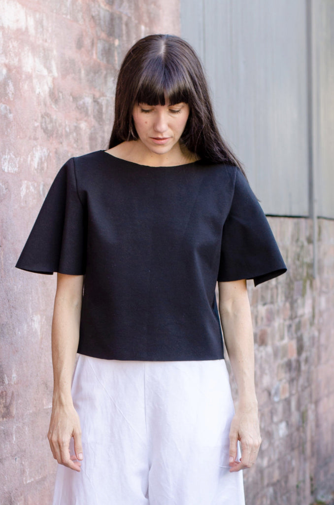Riss Top - Black Cotton Mix Ponte