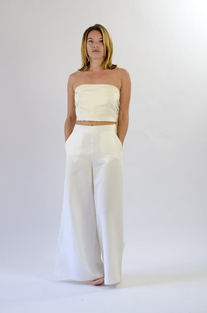 Gab Pant in White Linen Mix