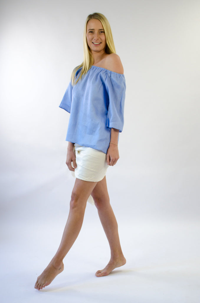 Belle Top in Ice Blue Linen