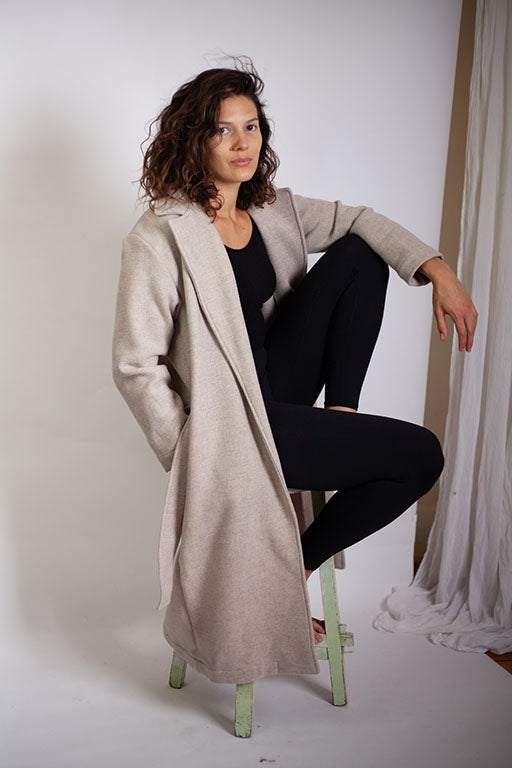 Dalle Duster Coat - Oatmeal Wool Micro-texture