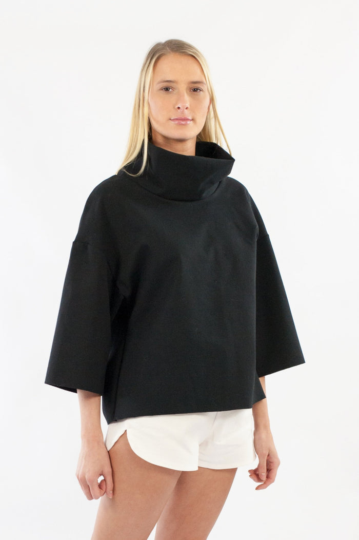 Nia Jumper - Black Cotton Rich Ponte