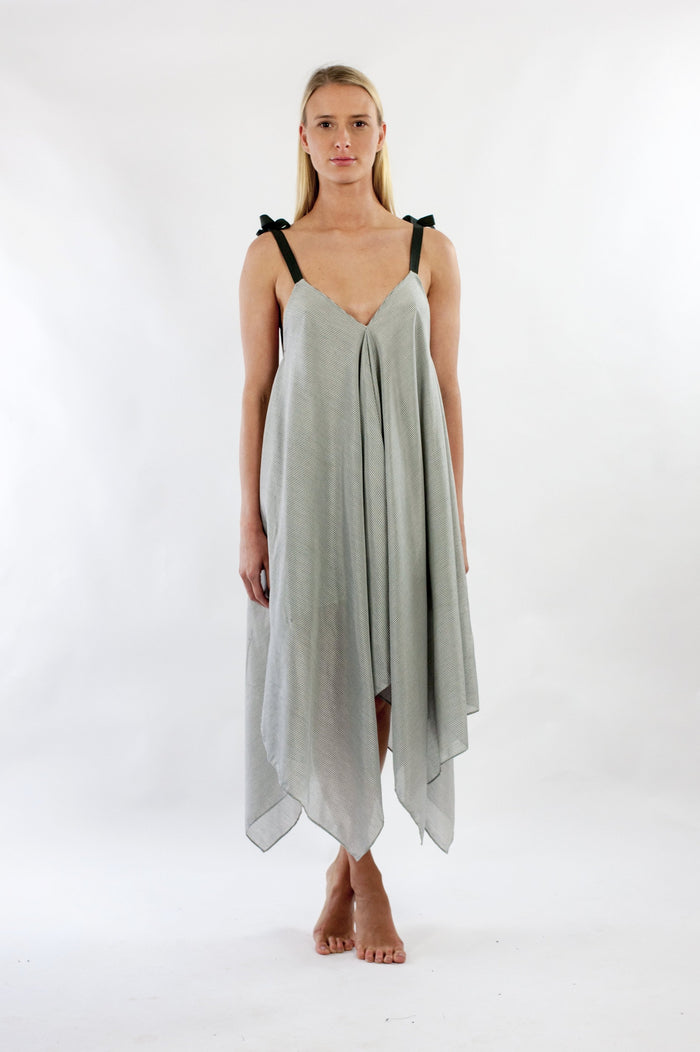 Iza Dress in Grey in White Stripe Silk Cotton Voile