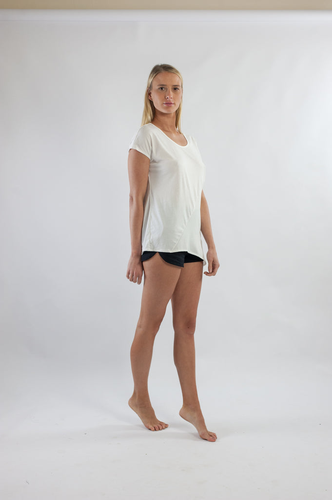 Splice Tee - White Cotton Jersey Spliced With White Cotton Crepe