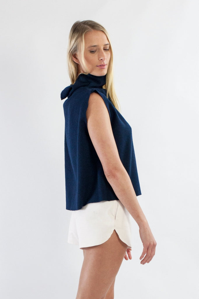 Tahli Top - Navy Japanese Wool Mix