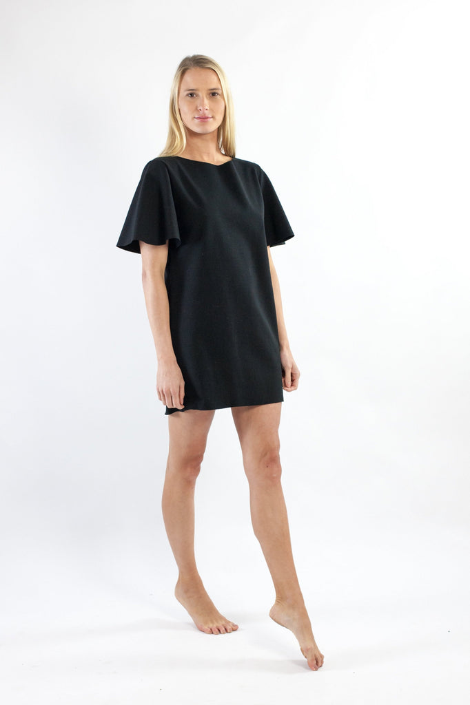 Riss Dress - Black Cotton Mix Ponte