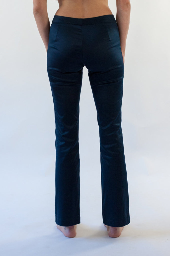 Ella Cigarette Pant in Navy Cotton Stretch Sateen