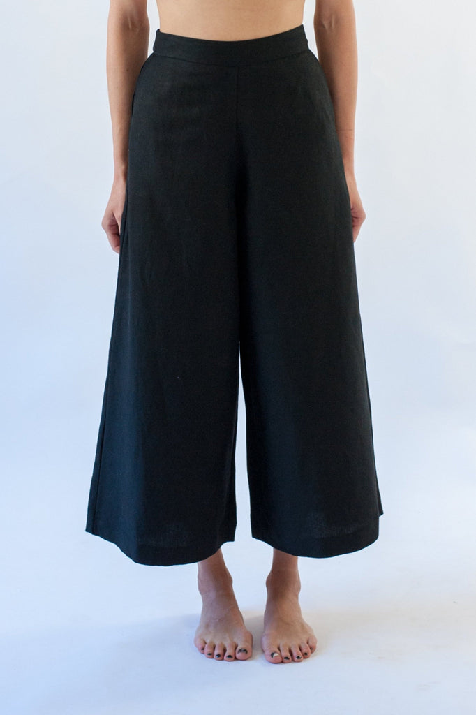 Romy Culotte - Black Linen Mix