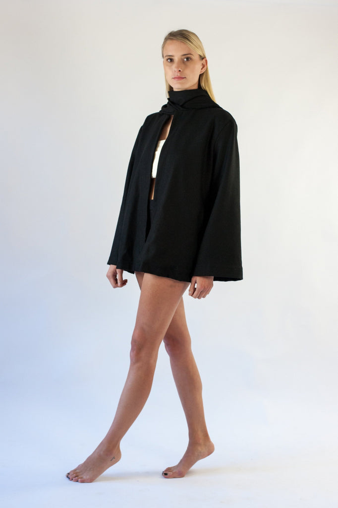 Jude Coat - Black Wool Mix Felt