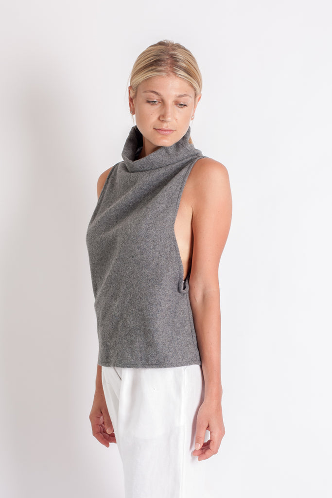 Tahli Top - Grey Japanese Wool Mix