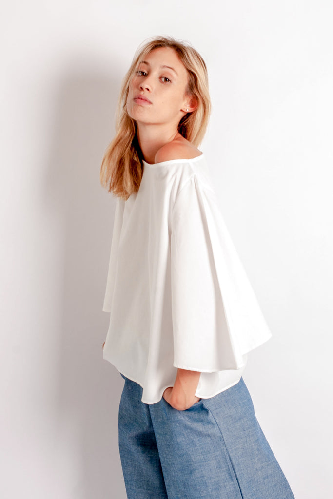 Eden Top - White Cotton Crepe