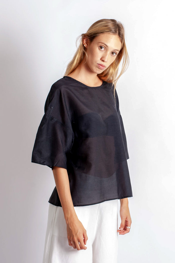 Xena Tee - Black Silk Cotton Voile