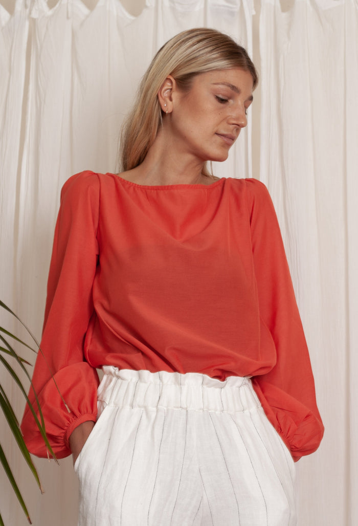 Elin Top - Coral Silk Cotton Voile