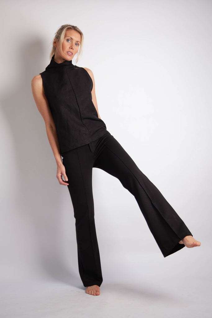 Tahlia Top - Black Linen Mix