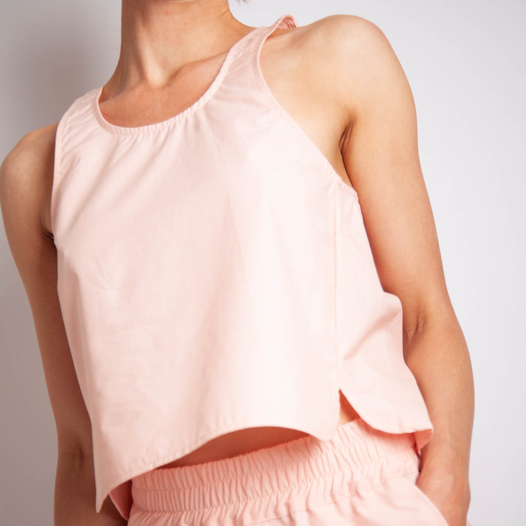 Edel Curve Side Seam Tank - Apricot Fine Stripe Cotton