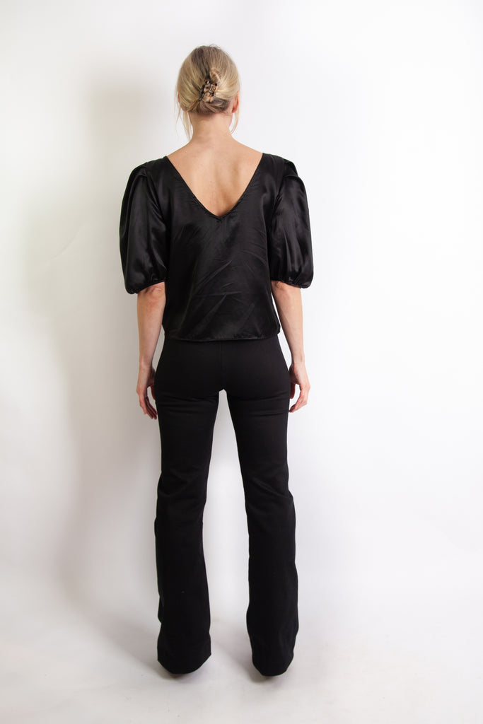 Eloise Top - Black Silk Cotton Sateen