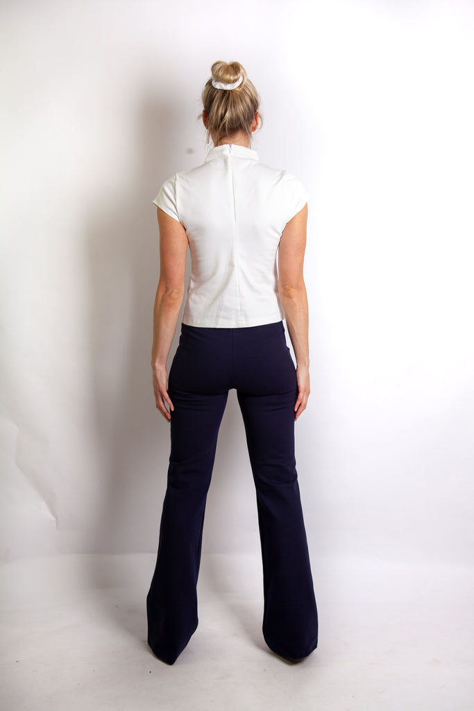 Suki Top - White Stretch Cotton Denim Twill