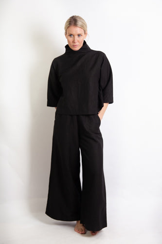 Mona Pant - Black Linen Mix