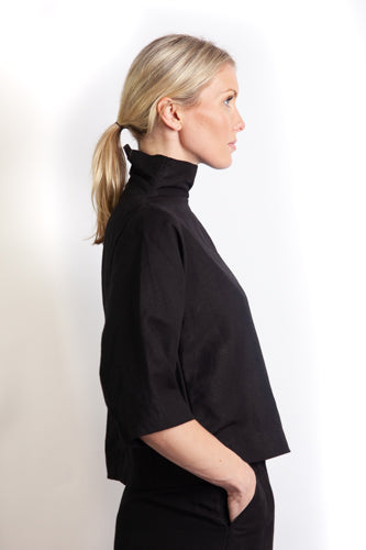 Tahlia Sleeve Top - Black Linen Mix