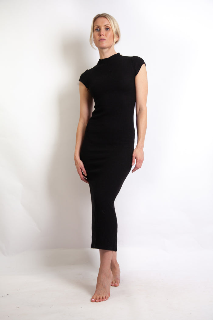 Suki Dress - Black Wool Mix Waffle