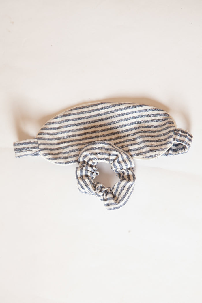 Sleep Mask & Scrunchie Set - Blue & White Linen Butcher Stripe