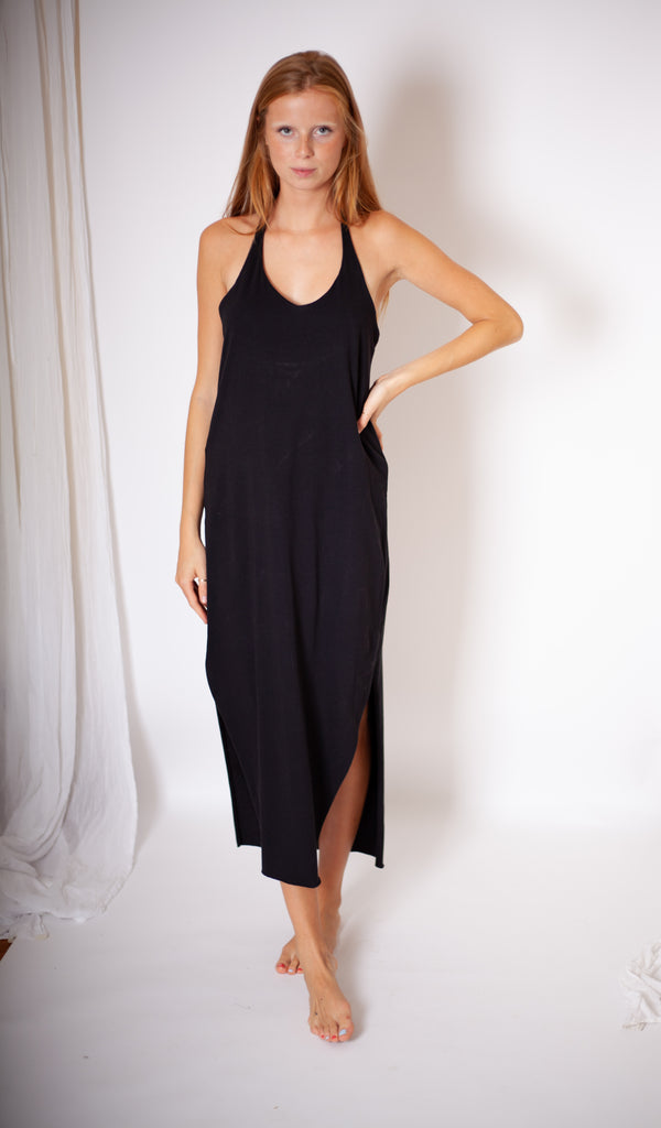 Ohla Dress - Black Organic Cotton Jersey