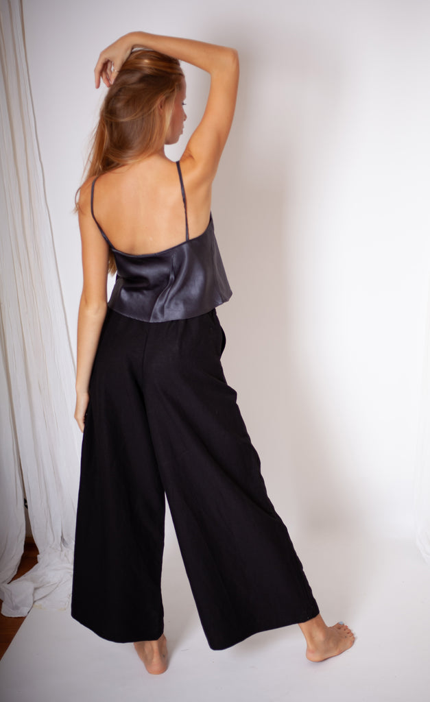 Mona Culotte - Black Linen Mix