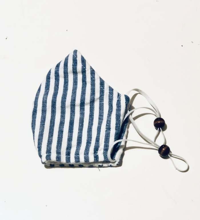 Face Mask - Blue & White Linen Butcher Stripe