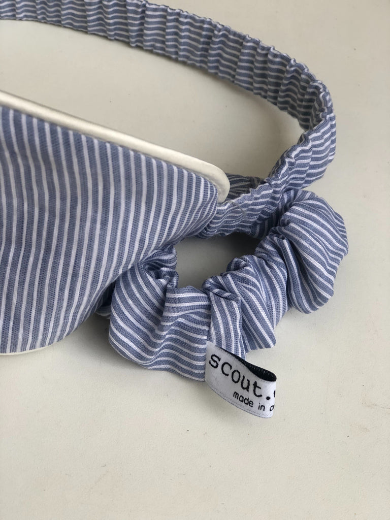 Sleep Mask & Scrunchie Set - Grey & Blue Linen Fine Stripe