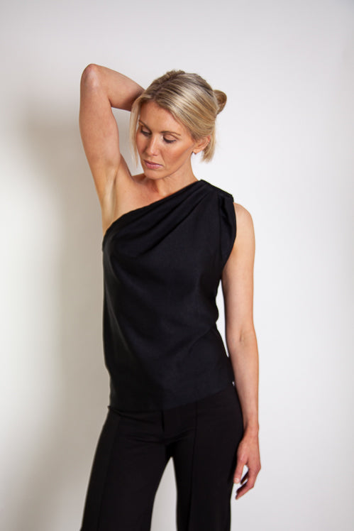 Tia Top - Black Fine Wool Blend Twill