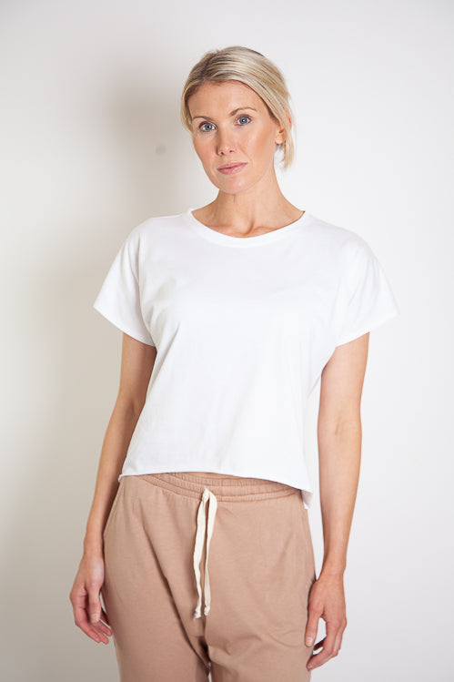 Josi Lounge Tee Staggered Hem - White Organic Cotton Jersey