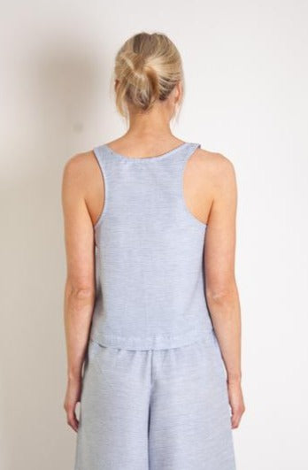 Edel Tank - Blue Grey White Linen Cotton Fine Stripe