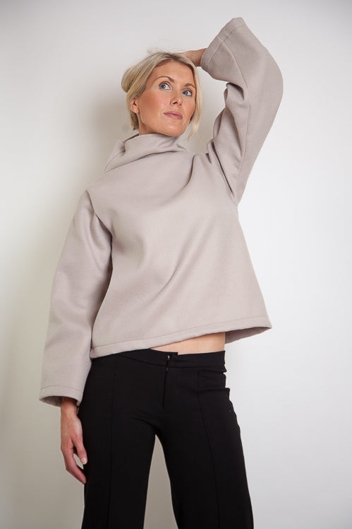 Tahli Jumper Straight Sleeves - Rose Ecru Wool Melton