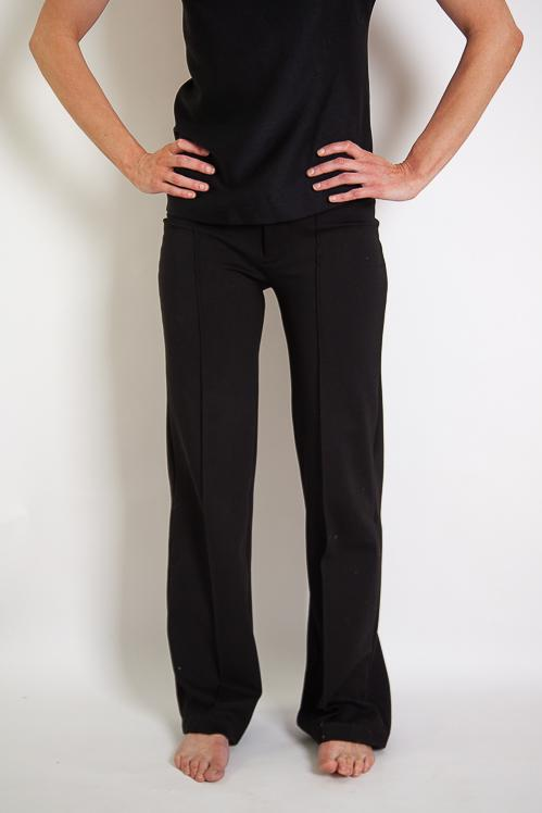 Ella Straight Pin Tuck Pant - Black Stretch Ponte