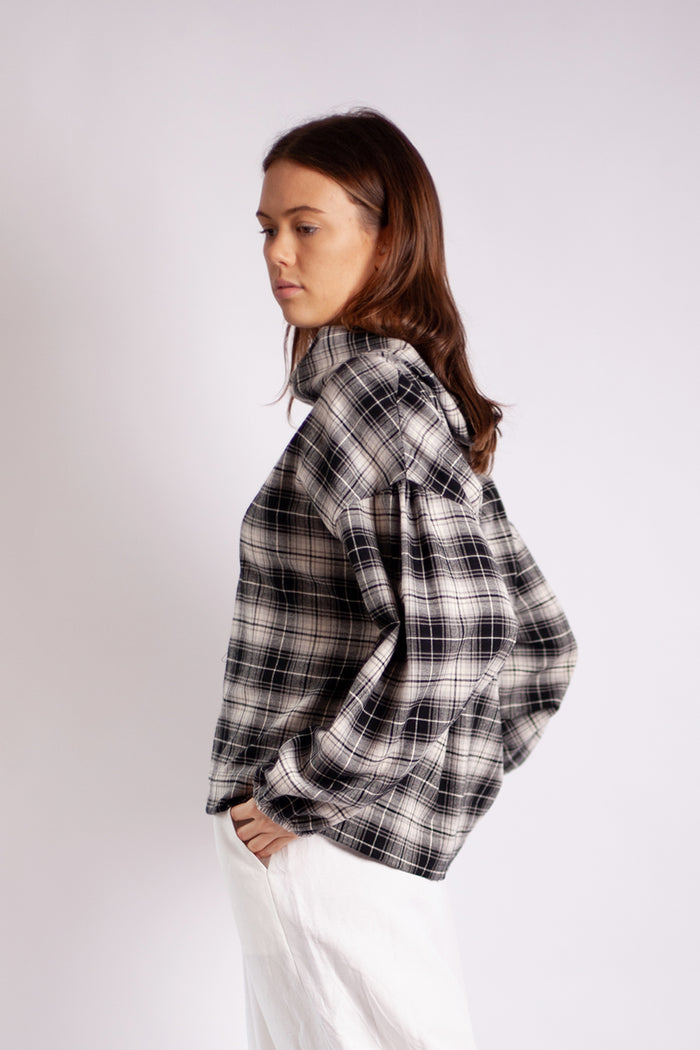 Nia Volume Sleeve Jumper - Cotton Monochrome Check