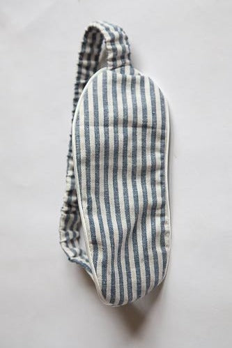 Sleep Mask - Blue & White Linen Butcher Stripe