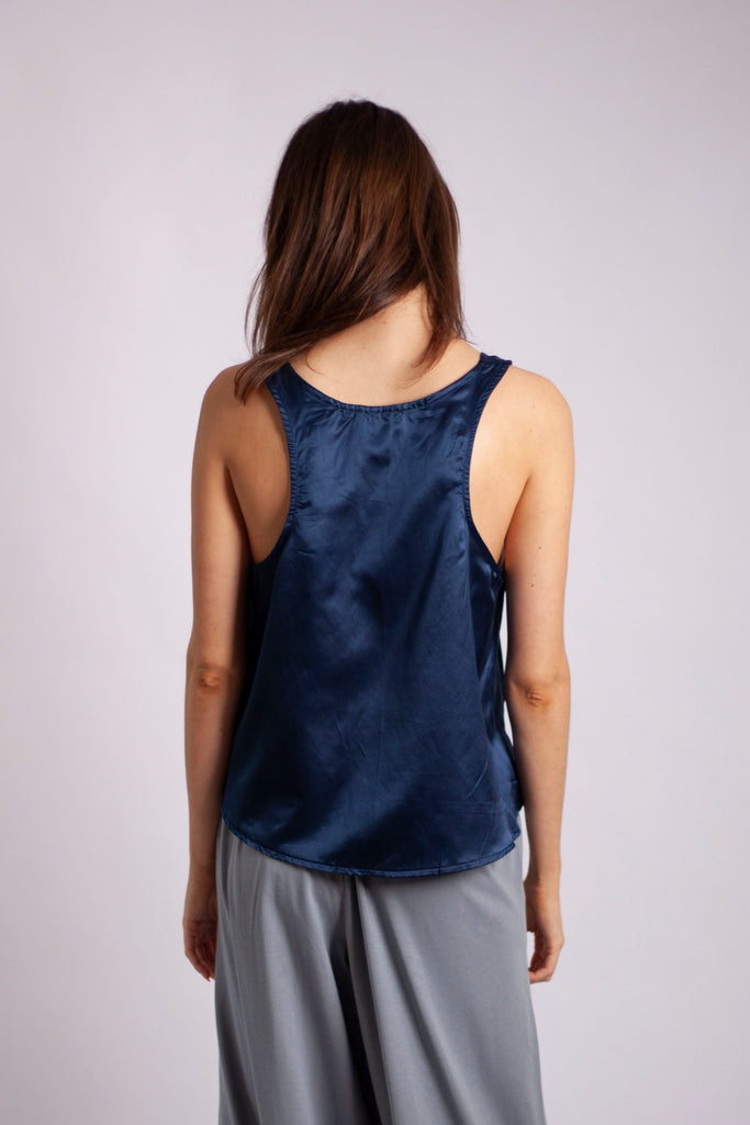 Edel Tank - Teal Silk Cotton Sateen