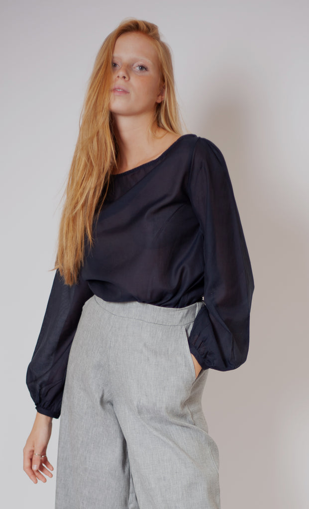 Elin Top - Nero Navy Silk Cotton Voile
