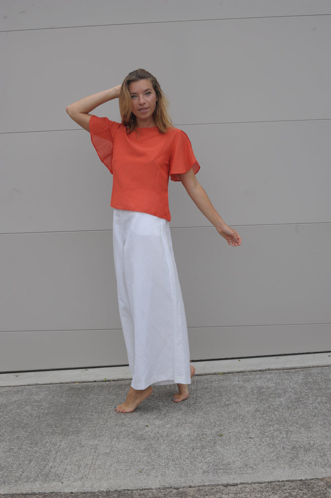 Rissa Top - Coral Silk Cotton Voile