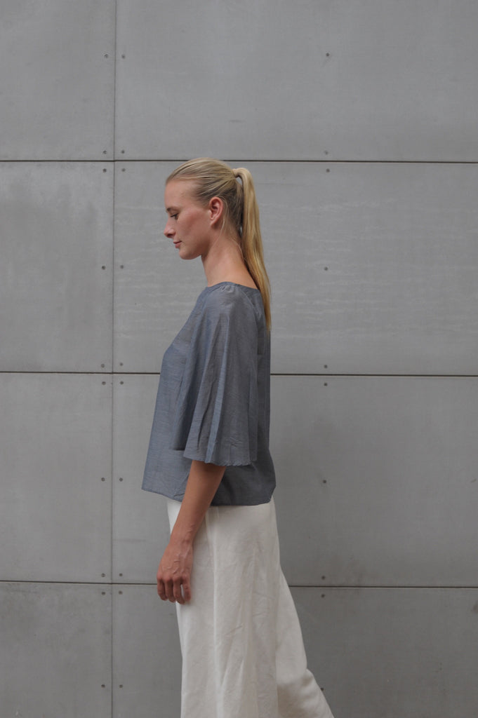 Eden Top - Grey Silk Cotton Voile