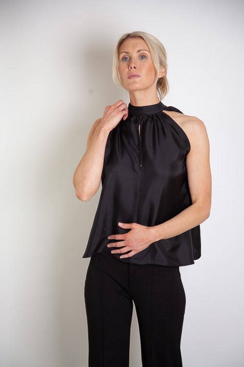 Jaia Halter Top - Black Silk Twill