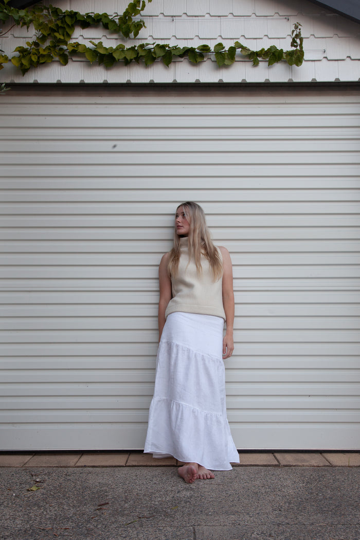Willow Skirt - White Linen
