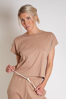 Josi Lounge Tee Straight Hem - Clay Organic Cotton Jersey