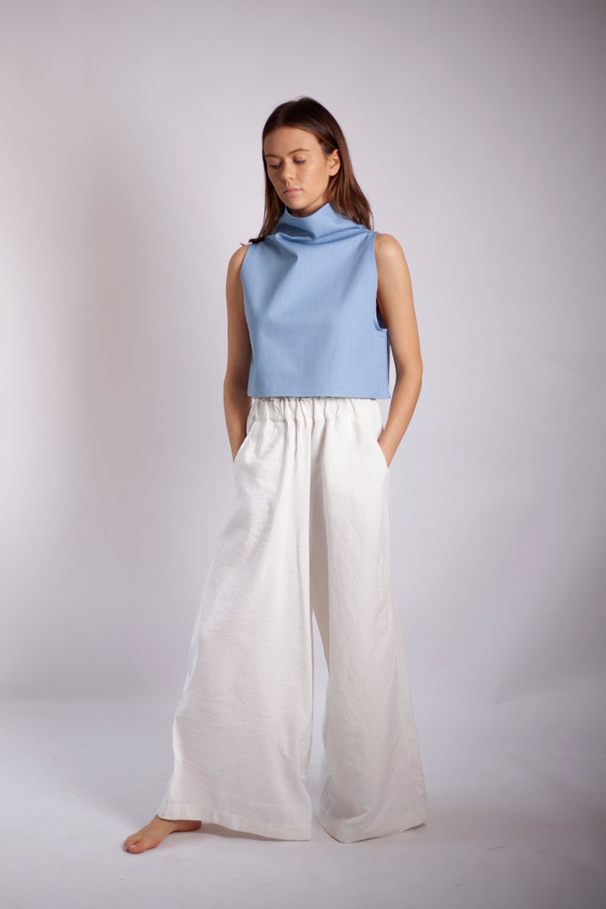 Mona Pant - White Linen Mix