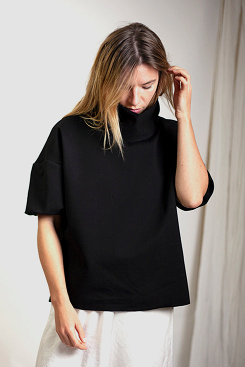 Nia Mini Ballon Sleeve Top - Black Italian Ponte