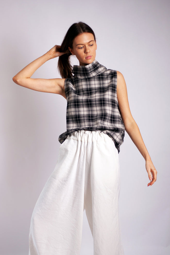 Tahli Top - Cotton Monochrome Check